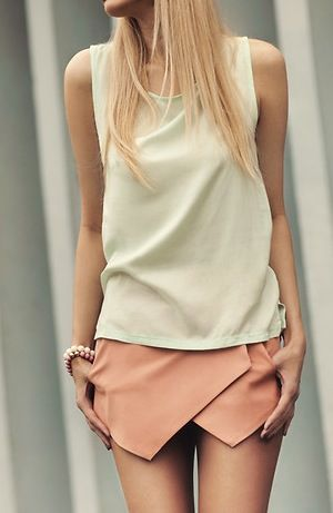 Pink mini skirt and short white top