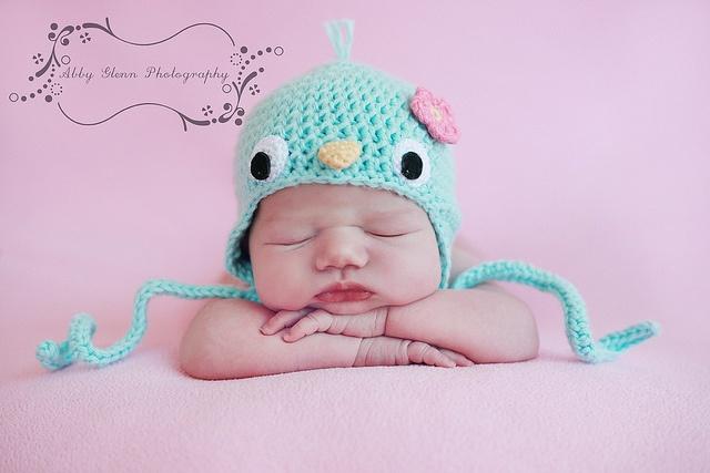 Crocheted Bluebird Earflap Hat, via Flickr. #naturadmc