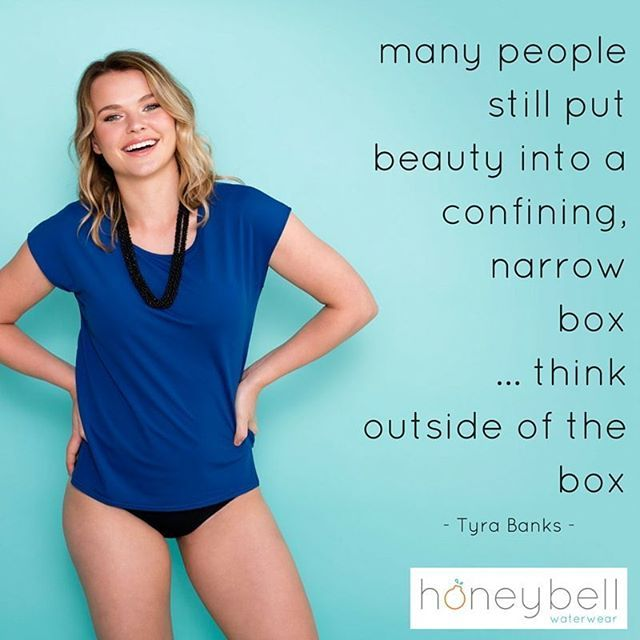 Who doesn't love a good Tyra quote?! Here's to thinking outside the box today! xoxo  Model wears the latest trend in summer fashion - navy swim tee from Honeybell Waterwear.