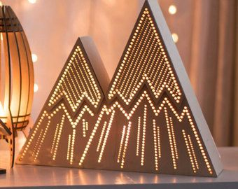 Mountain Night Light - Stripes - Kid's Lamp / Lantern - Wilderness / Nature / Woodland / Camping Theme Nightlight - Geometric Mountainrange