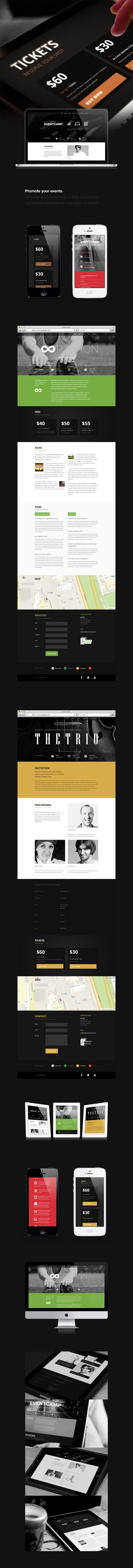 """Eventcamp by Ye Joo Park, via Behance *** """"Eventcamp"""" is a one-page marketing HTML template that helps markets to promote events."""