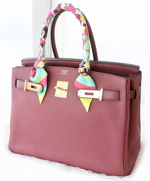 d1c14c02edf1 Rouge red Hermes Birkin bag and silk Twilly.