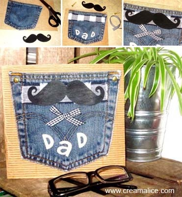 ✄ ★✩ Carte Récup Jeans Fête des Pères / Father's Day Card ✩★✄  www.creamalice.com