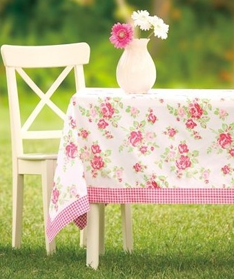 Shabby Chic pink Roses & Gingham Tablecloth with cream painted chair and vase of flowers. So cute.