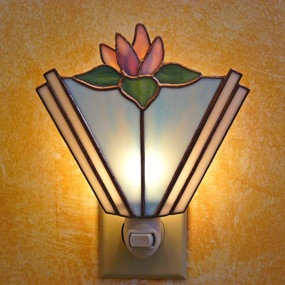 Stained Glass Water Lily Night Lamp by colorandlight on Etsy, $45.00