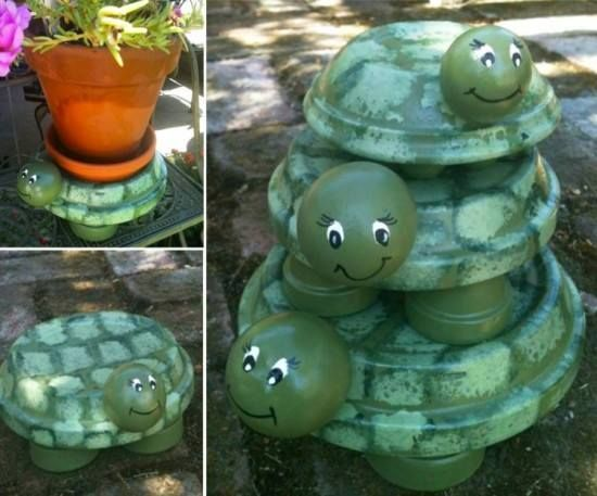 Terracotta Turtles. You need a terracotta clay drain plate, 4 small pots for feet and you can use several things for head, depending on size you are making...anything from a ping pong or golf ball to plastic ball, tennis ball, clay....use E6000 glue and some spray paint/paint.