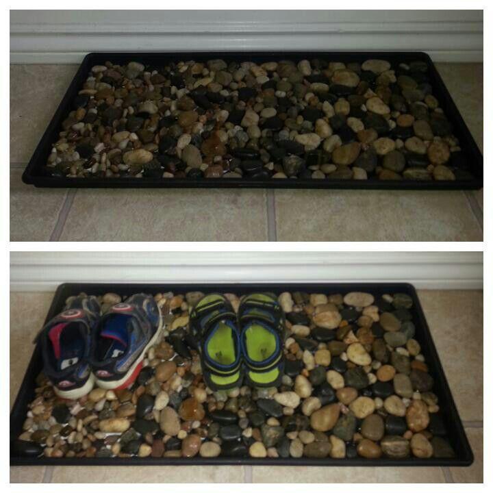 Rock shoe mat! - used rocks from dollar store & glued to plain black mat & voila!!