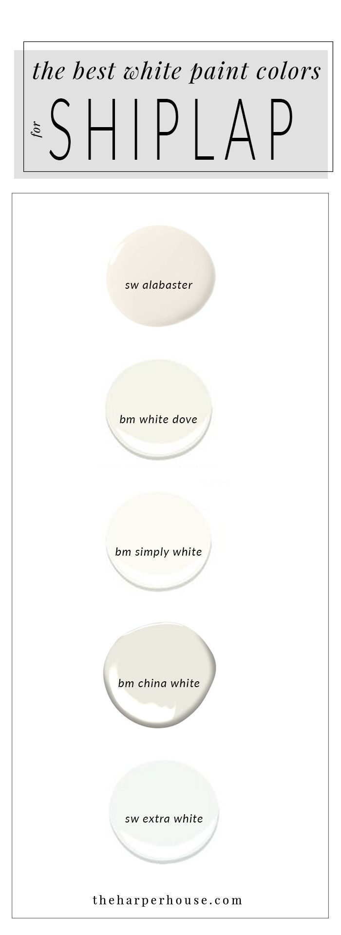 best white paint colors to paint shiplap; sherwin williams alabaster | www.theharperhous...