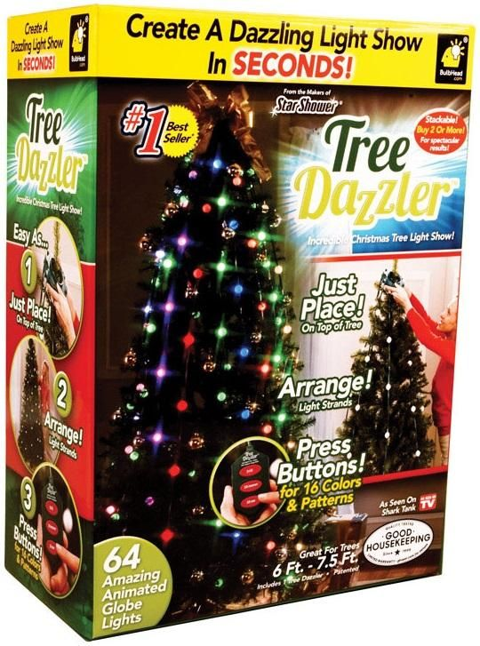 Telebrands 10956-6 Tree Dazzler Christmas Tree Light Show, Assorted