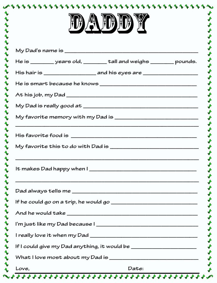 DIY Father's Day Questionnaire that's editable so you can use for Dad, Papa, Grandpa, etc.
