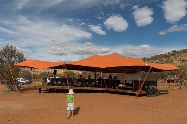 The burnt orange communal platform at Nick's Camp.