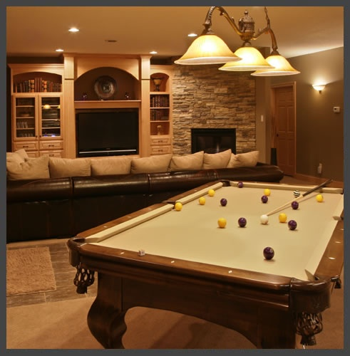 94 best pool tables images on pinterest pool tables billiard room this remodeled basement comes complete with a pool table and a full stone tile fireplace beside the tv the pool table light along with the recessed and greentooth Image collections