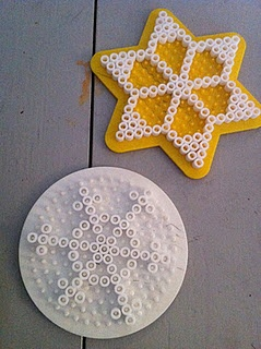 hama/perler bead or cross stitch designs - snowflakes & stars - for ornaments (try making 2, with fabric/voile/lace sandwiched between for decorative effect & strength) or cards