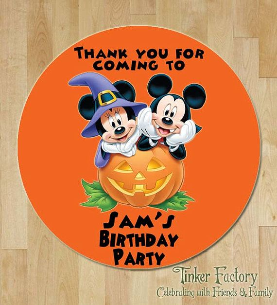 Personalized Mickey Mouse Halloween Happy Birthday Favor Tag ...