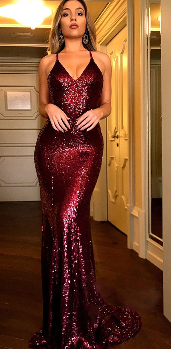 8c138a2b5dcc Charming Red Sequin Sexy Mermaid Popular Modest Fashion Tend Prom Dresses,  Party Evening dress,