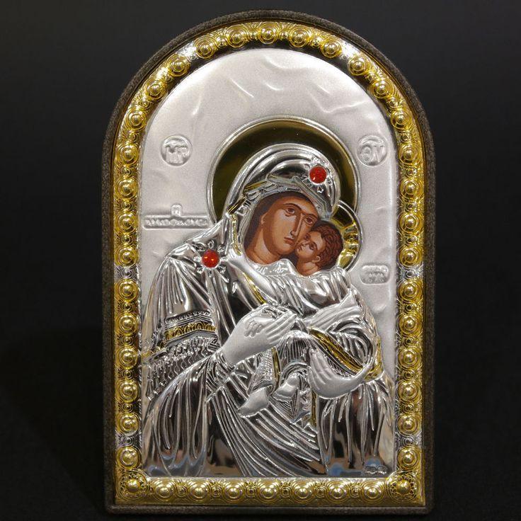 Orthodox Silver 925 Icon Greek Handmade ByzantineVirgin Mary Sweet Kisses 8x12cm