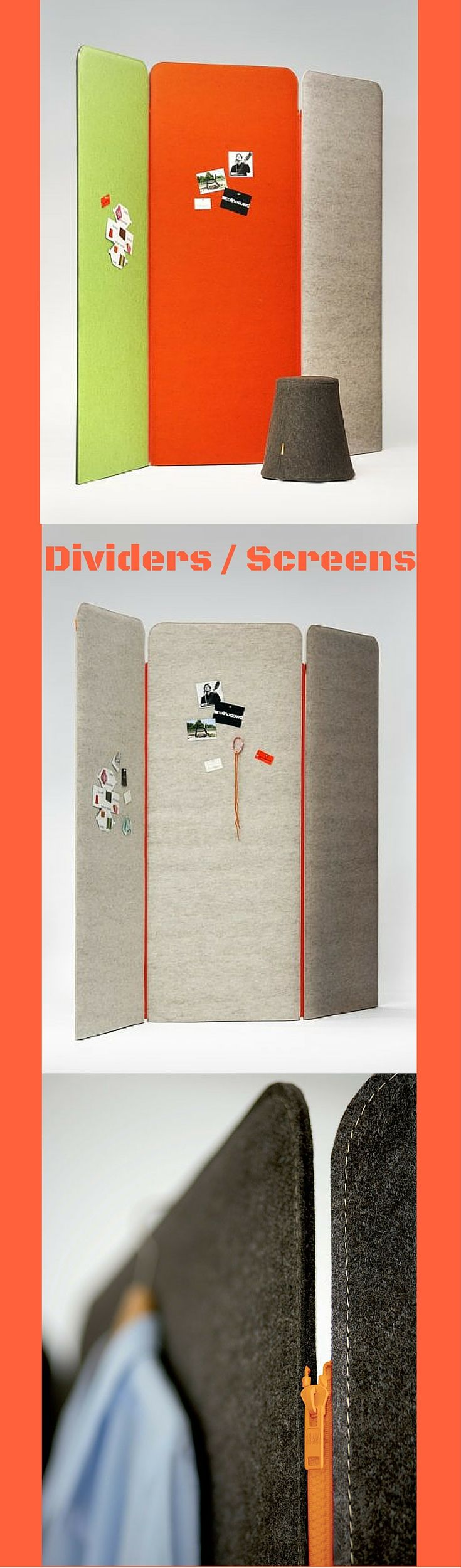 These screens can be used as dividers, screens, or partitions for offices or residential.  The inside is made of an acoustic material to help with reduce noise.  The zip feature allows you to add on to them.  You can have fun with the colors & sizes.  The fabric is a felt.