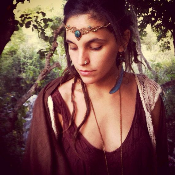 Headband with Chrysocolla macrame headband bohemian headpiece    Tribal Princess Macrame headband head piece  TRIBAL bohemian gipsy jewelry on Etsy, $55.27 CAD