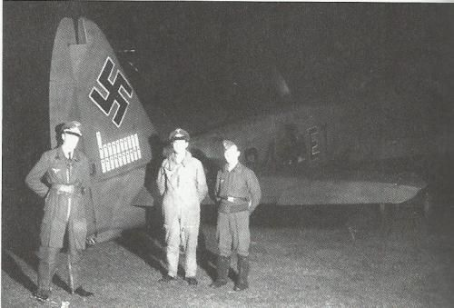 Heinrich Prinz Zu Sayn-Wittgenstein and his crew from 9/NJG2pose with their Ju 88 C-6 R4+ET, marked with 21 victories on the fin, during the autumn of 1942.