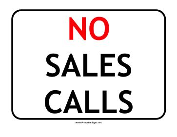 Keep cold callers and solicitors out of your office with this printable No Sales Call sign for businesses. Free to download and print