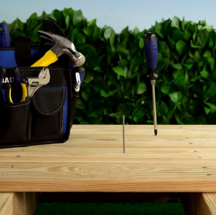 When building a deck, use a handy screw or 16D nail to ensure proper board spacing. #lowesfixinsix