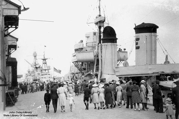 Goodwill visit to Brisbane by the American fleet in March, 1941. This was the first visit to Brisbane during World War Two of an American Naval Squadron. At this time, the United States of America had not entered the war. Entry was a few months away after Pearl Harbour in December, 1941 (Description supplied with photograph).