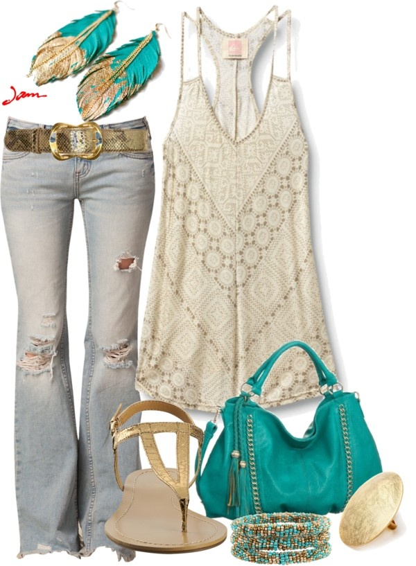 """gold and turquoise"" by jayneann1809 on Polyvore omg I love this...Idk y I fight it...I'm a hippie at heart!"