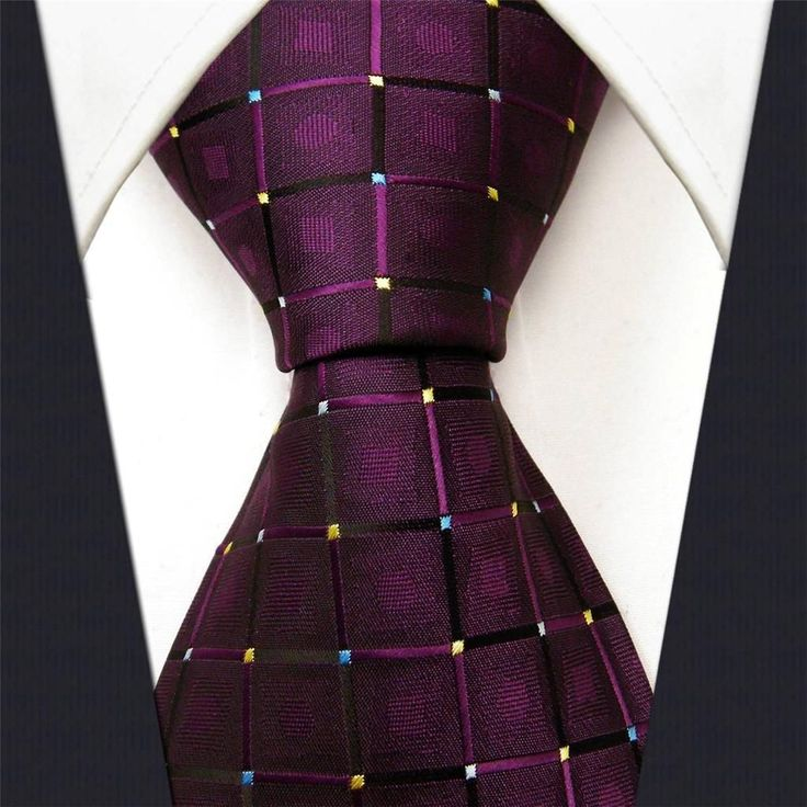 Purple Check - Neckties Only Collection - NT003g 25% off discount code: pinterest @ NecktiesOnly.com