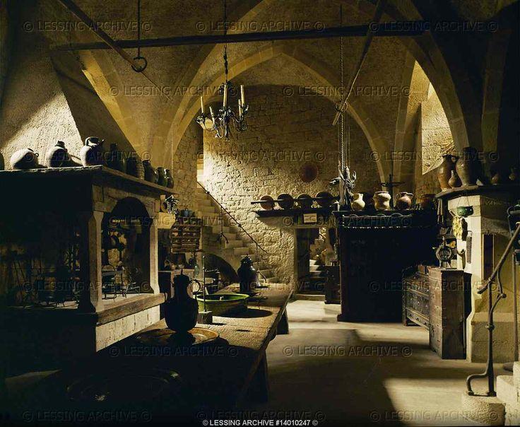 Kitchen Of Kreuzenstein Castle Castle Is A 19th C