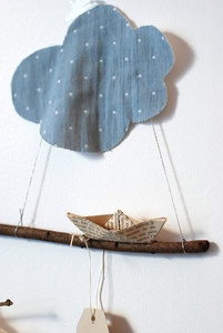 By Daniela: Paper Boats, Cacao Cloud, Cloudy, Nuages Nuvole Clouds Kumo, Cloud Mobile, Diy, Crafts, Mobile