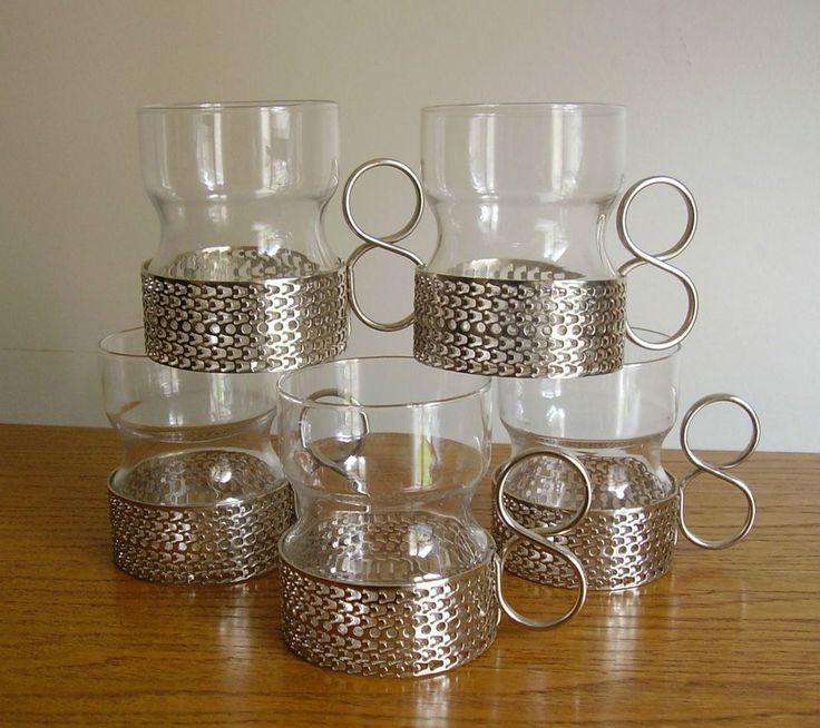 5X RETRO Vintage IITTALA Tsaikka TIMO Sarpaneva TEA Coffee GLASSES Tumblers
