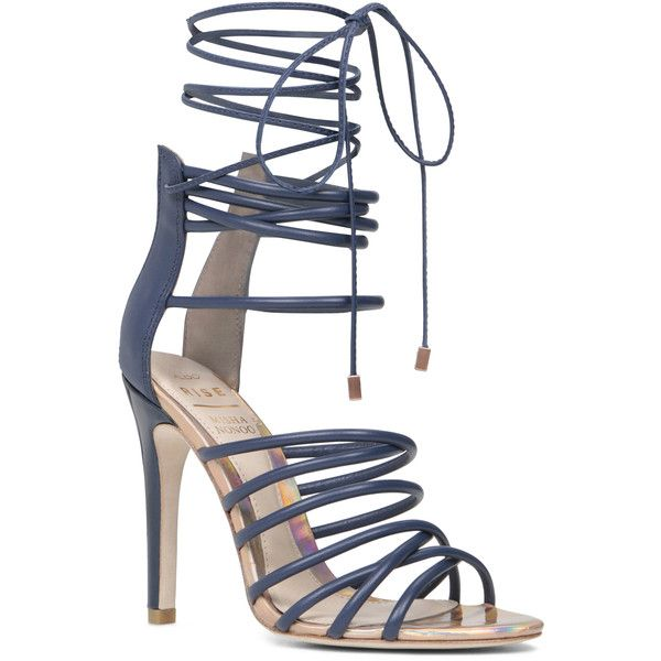 ALDO Birchell ($160) ❤ liked on Polyvore featuring shoes, sandals, heels, navy, summer sandals, heeled sandals, navy sandals, high heel sandals and navy blue sandals