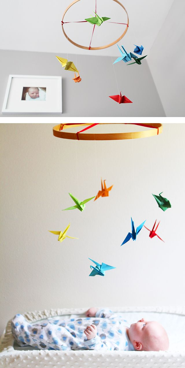 Easy and colorful paper crane mobile for the nursery