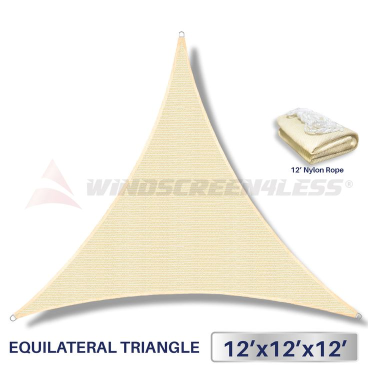 12'x12'x12' Triangle Sun Shade Sail Fabric Outdoor Canopy Patio Awning Cover #Windscreen4less