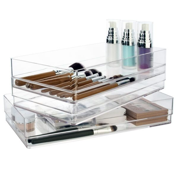 Stacking Drawer Makeup Organizer: Set of 3 break-resistant plastic drawer organizers in premium clear plastic. They're ideal for cosmetics, crafts, office supplies and utensils. Pair with other STORi items to create a collection. Size is 12 inches by 6 inches by 2 inches. $14.97 on Amazon.com. Prime eligible.