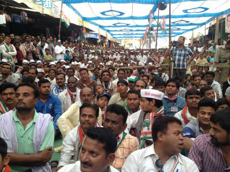 A large crowd gathered to hear Shri Kamal Nath in Junnardeo #KamalNath #Junnardeo #PoliticalRally #Election2014 #ElectionTracker #IndianNationalCongress #INC #India #Rally #Politics