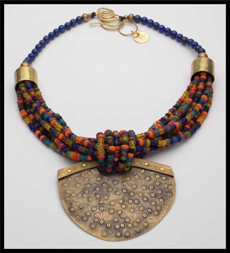 Malaga Lapis Indonesian Glass Handforged Pendant 8 Strand Necklace | eBay