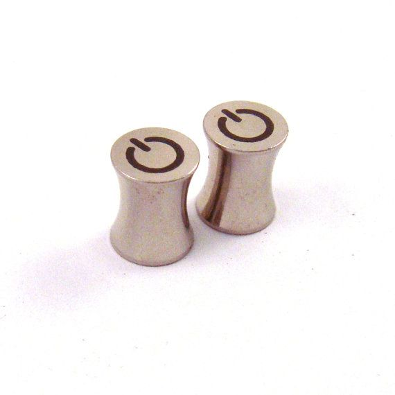 "Turn On 316L Steel Power Button Plugs - Double Flared - 2g 0g 00g 7/16"" (11 mm) 1/2"" (13mm) 9/16"" (14mm) 5/8"" (16mm) Symbol Metal Gauges"