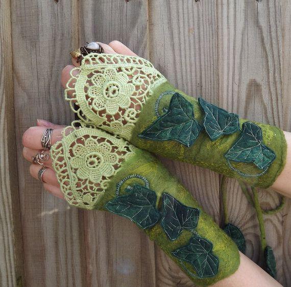 Lace Enchanted Ivy Cuffs  steampunk fairy  fairytale par folkowl