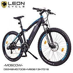 E-Bike - Reviewscout NCM Moscow 29″ Zoll Elektrofahrrad Mountainbike,E-MTB E-Bike,Pedelec, 36V 250W Bafang Motor, 36V 13Ah designer Rahmen Akku,matt schwarz,hell blau