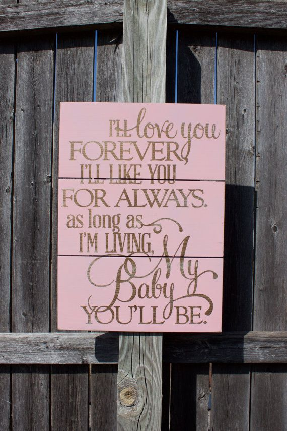 Love You Forever Pallet Sign Rustic Nursery by TorreysTouches