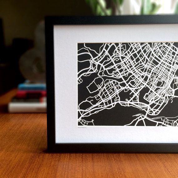 Paper cut map of Montreal QC 8x10 by CUTdesignsrt on Etsy