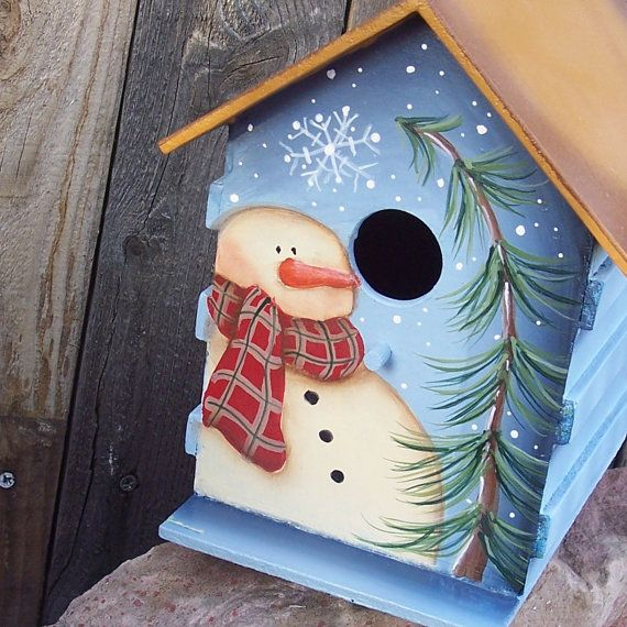 Hand Painted Birdhouse Primitive Snowman Pine by ThePrairieCottage, $25.00