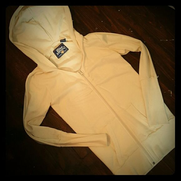 Cream zip up sweatshirt Band on sleeves and bottom, very fitted.... fits like an xsm. Barely worn, excellent condition. No stains. Blue Asphalt Tops Sweatshirts & Hoodies