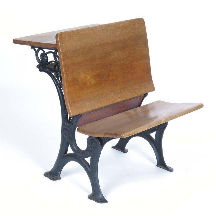 Details about Vintage school desk wooden cast iron E H Stafford Chicago  antique c 1920s-30s - Antique School Desk Value Antique Furniture
