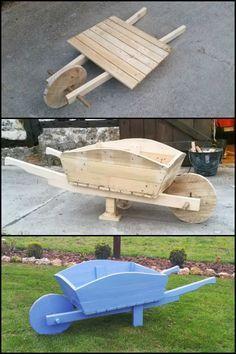 Make your Garden Prettier by Building a Wooden Wheelbarrow From Scrap Pallet Tim…