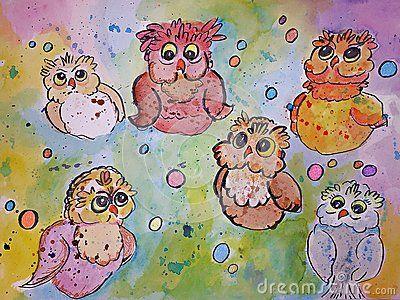 Six watercolor owls