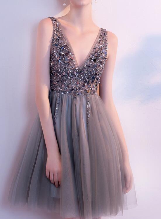 Gorgeous Beaded Grey Short Prom Dress, Lovely Tulle Homecoming Dress