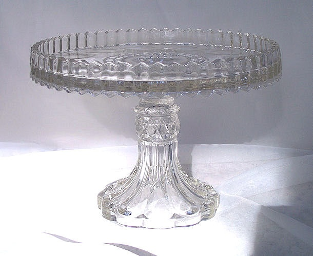 Vintage Eapg Pedestal Cake Server Stand With Rum Well