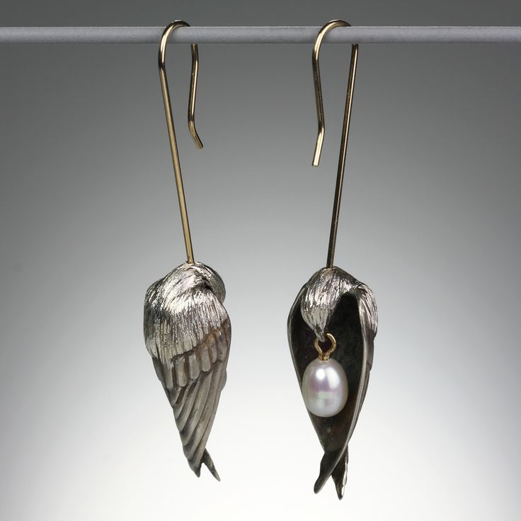 Gabriella Kiss - Sleeping Bird Earrings // Bronze, Pearls